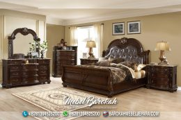 Best Bed Set Teak Wood Casual Brown JM-935